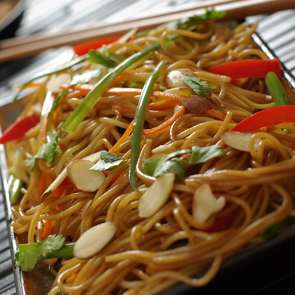 Teriyaki Rice Noodles with Veggies and Beans